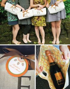 Gift idea, monogrammed wine totes.