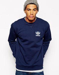 Adidas Originals Logo Crew Sweatshirt (Mens Fitness Clothes)