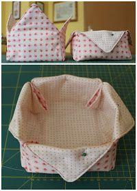 Mamma Gioca: Tutorial: come cucire un cestino di stoffa Vide Poche, Origami, Projects To Try, Basket, Diy Crafts, Homemade, Quilts, Sewing, Appliques
