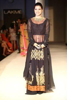 Lakme Winter 2013 Manish Malhotra Kajol in sheer black lehnga