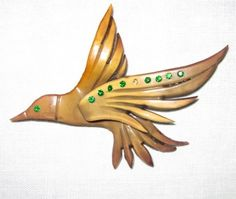 Vintage Celluloid Bakelite/Plastic HUMMINGBIRD Rhinestones BROOCH //c.1940s