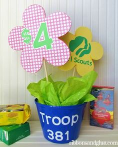It's Cookie Time!  Make your own DIY Girl Scout Cookie Booth Decorations by making a cute and  personalized Troop centerpiece and DIY cookie felt  banner.
