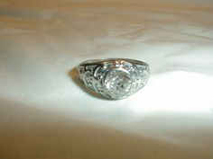 edwardian sterling silver crystal ring by qualityvintagejewels, $125.00