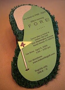 This invite is so dang cute! Astro turf, sandpaper and craft paper... You can make them a bit bigger and use them as serving platters as well