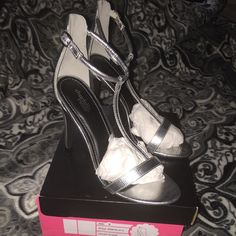 Silver Heels Super cute and versatile! Never Been worn, only tried on In store! Still in original box! Charlotte Russe Shoes Heels