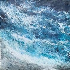 Crashing Waves, encaustic ocean painting by Lee Anne LaForge | Effusion Art Gallery + Cast Glass Studio, Invermere BC Bear Paintings, Cute Paintings, Cast Glass, Crashing Waves, Encaustic Painting, Canadian Artists, Painted Doors, Winter Landscape, Landscape Paintings