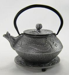 silver dragon cast iron tea pot