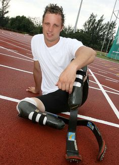 For my Senior Design Project at Rose-Hulman, we worked on a prosthetic hind limb for a dog.  The design was inspired by the prosthesis worn by Oscar Pistorius, the athlete shown in the picture.