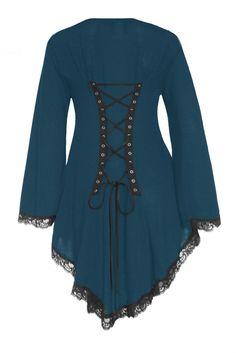 Dare To Wear Victorian Gothic Women's Plus Size Embrace Corset Sweater Dark Teal