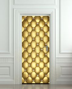 "Door Wall STICKER poster diamond gold golden leather cover film 30x79"" (77x200 cm) on Etsy, $39.99"