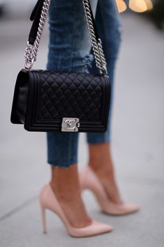 Chanel Le Boy Bag & Dolce & Gabbana Nude Pumps