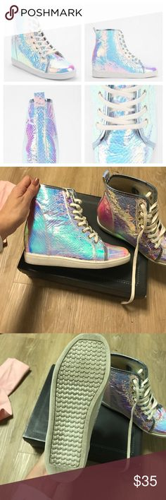 Deena & ozzy holographic hidden wedge sneakers Wore about 5 times - great condition see soles Deena & Ozzy Shoes Sneakers