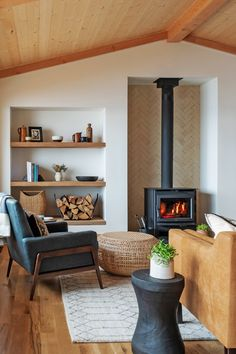 Lopi wood stove in the living room Cottage Living Rooms, Living Room Modern, Home Living Room, Living Room Decor, Living Room Interior, Transitional Living Rooms, Transitional Decor, Living Area, Home Fireplace