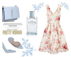 """""""floral dress"""" by anay05 ❤ liked on Polyvore featuring Chi Chi, Le Silla, Yves Saint Laurent and Prada"""