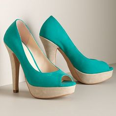 ELLE Peep-Toe Platform High Heels  These take practice walking