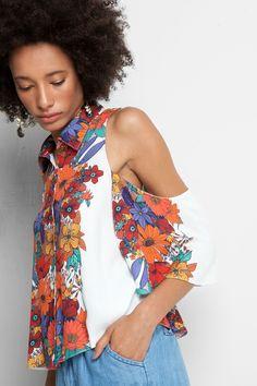 camisa ombro vazado estampada joy