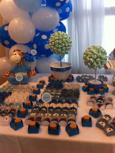Baby shower boy white and blue