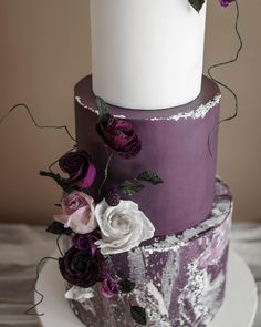 Another teaser of this plum toned wedding cake with a marbled stone textured tier! Mint Wedding Cake, Olive Wedding, Wedding Cake Fresh Flowers, Plum Wedding, Cool Wedding Cakes, Beautiful Wedding Cakes, Beautiful Cakes, Purple Cakes, Red Cake