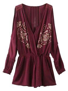 Burgundy Wrap Plunge Cold Shoulder Embroidery Romper Playsuit