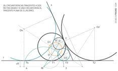 Circunferencias tangentes a rectas. Problema de Apolonio · Dibujo Técnico Ppr, Line Chart, Diagram, Plane Geometry, Drawing Techniques