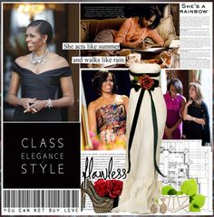 """michelle obama"" by pinky-shimmer ❤ liked on Polyvore"