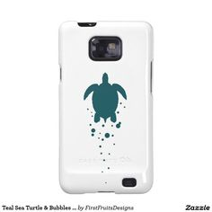 Teal Sea Turtle & Bubbles Against White Galaxy SII Cases