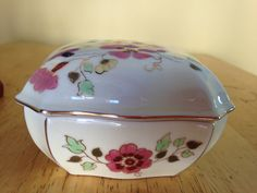 Zsolnay- Hungary Hand Painted Trinket Box Handpainted marked *28 by KitchandJunk on Etsy