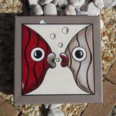 Tableau des deux poissons amoureux...