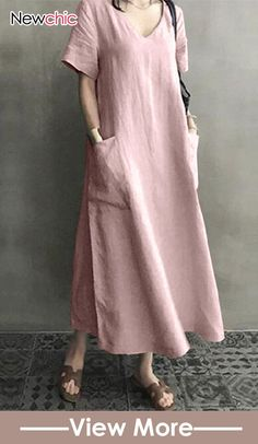 Solid V Neck Short Sleeve Maxi Dress – chiclinen summer dresses vacation outfits vacation outfits beach vacation dresses tropical long dresses casual maxi street style dresses vintage dresses long Maxi Dress With Sleeves, V Neck Dress, Short Sleeve Dresses, Dress Pockets, Sheath Dress, Vintage Shorts, Linen Dresses, Casual Dresses, Loose Dresses