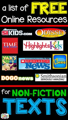 One Stop Teacher Shop: Free Resources for Non-Fiction Texts and free center response sheets A list of FREE Nonfiction reading websites and articles for kids that are all online. Perfect for when you need online nonfiction texts. Reading Websites For Kids, Reading Resources, Reading Strategies, Reading Activities, Teaching Reading, Teacher Resources, Reading Comprehension, Teacher Websites, Kids Reading
