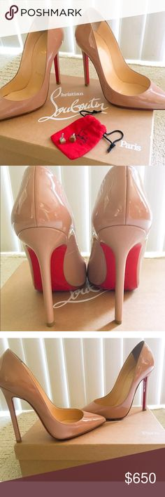 Like new Christian Louboutins Christian Louboutin Nude Beige Patent Pointed Pigalle 120 Pumps Heels EUC Size 37  • Size: 37  • Style: Pigalle Authentic, gorgeous pair of pre-owned red bottoms! These were a gift from my husband and I only wore them 3 times  • They are in excellent condition, with no significant wear at the toes or heels. I had the sole protector put on for better traction and to keep the red soles from getting scratch up Christian Louboutin Shoes Heels