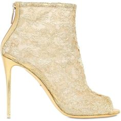 Dolce & Gabbana Women 105mm Lurex Macramé Lace Peep-toe Boots (£575) ❤ liked on Polyvore featuring shoes, boots, ankle booties, gold, lace high heel booties, lace-up booties, high heel booties, lace-up ankle booties and lace high heel boots
