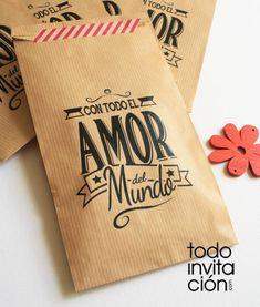 f8f08ae24 bolsa de kraft mensaje cualqueir evento boda comunion bautizo Bolsas De  Papel Madera, Bolsas De