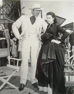 """Clark Gable and Vivien Leigh, backstage on the set of """"Gone With the Wind"""" (1939)."""