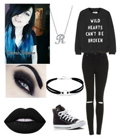 """""""Raven"""" by dallymdescaper on Polyvore featuring Lulu*s, Zoe Karssen, Topshop, Converse, Lime Crime and BERRICLE"""