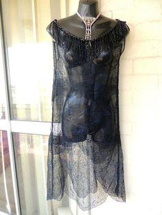 Tru Vintage Antique RARE1920s Sheer Blue French Lace Jet Beaded  Flapper  Dress