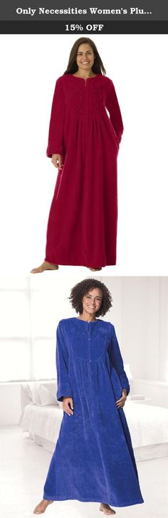 """Only Necessities Women's Plus Size Long Chenille Robe Rich Burgundy,1X. This lovely plus size robe caresses your curves with smooth, soft fabric. You'll love the pretty, feminine scroll appliqué on the front and all of the rich colors it comes in! feminine A-line style hangs beautifully robe is 53"""" long, drapes with ease to the ankles open jewel neck falls into zip front long, roomy sleeves with scrolled appliques at cuffs shirring under front bib for sweep pockets washable woven chenille..."""