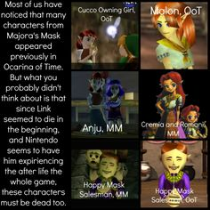O_O Dude... All these characters died... maybe MM is just an alternate ending to OoT and in this version Link died before he could save Hyrule, so all these people died too.<-----O.o