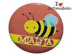 Namensbutton+Biene+Ansteckbutton+50mm+groß+++von+Buttons&Books+auf+DaWanda.com