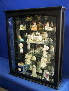 Black Wall Hanging Curio Cabinet Mirror Back-Glass Shelves - Cabinets & Cupboards Wood Cabinets, Curio Cabinets, Cupboards, Wardrobe Cabinets, Wall Curio Cabinet, Ogee Edge, Glass Wall Shelves, Shelf Holders, Wall Boxes