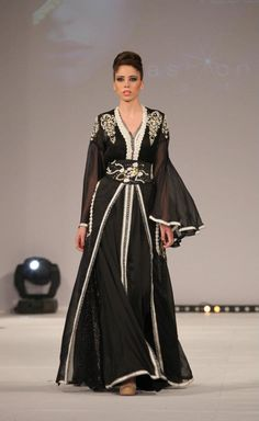 Crystal Beaded Drop Long Sleeve Black Chiffon Caftan