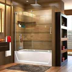 Delta Classic 400 Curve 60 in. x 62 in. Frameless Sliding Tub Door in Stainless-B55910-6030-SS - The Home Depot Bathtub Doors, Frameless Shower Doors, Frameless Shower Enclosures, Tub Enclosures, Wall Installation, Shower Tub, Shower Pics, Master Shower, Glass Shower