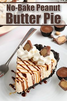 This No-Bake Peanut Butter Pie recipe is quick, easy, and so indulgent! It's perfect for busy weekdays and last-minute events. Best Dessert Recipes, No Bake Desserts, Pie Recipes, Easy Desserts, Grilled Desserts, Sweets Recipes, Delicious Recipes, Healthy Recipes, Peanut Butter Pie Recipe No Bake