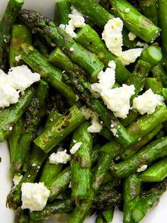 Grilled asparagus with feta, lemon zest, and olive oil. I love feta and asparagus! Not sure why I never paired Grilled asparagus with feta, lemon zest, and olive oil. Think Food, I Love Food, Food For Thought, Good Food, Yummy Food, Tasty, Side Dish Recipes, Vegetable Recipes, Vegetable Salads