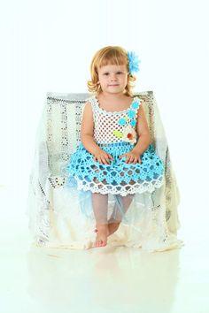 Summer dress crochet/ blue dress/ elegant dress/ holiday by llemio, $45.00