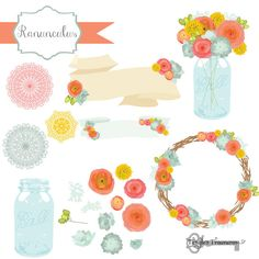 Check out Ranunculus Flower Clipart & Vectors by Tangle's Treasures on Creative Market