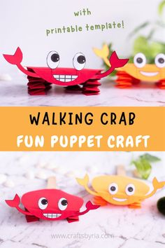 We have a cute paper crab craft puppet to add to your fun this summer! This crab puppet craft is a cute DIY toy to make with toddlers, preschoolers, kindergarteners and elementary school kids. Learn to make accordion folded paper crab craft with easy step by step tutorial and our crab printable template!