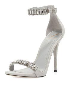 X29MG B Brian Atwood Ciara Jeweled Suede Sandal, Gray