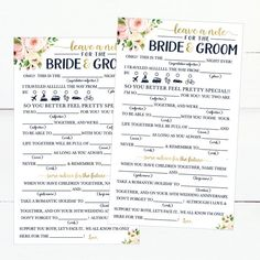 Funny Advice Cards For Wedding Reception Bridal Shower Card