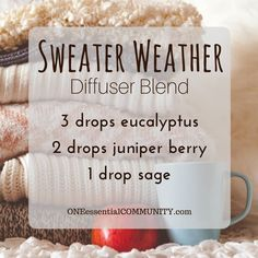 sweater weather diffuser blend PLUS recipes for 20 fall diffuser blends -- easy, non-toxic ways to make your home smell like fall using essential oils. and there's even a FREE PRINTABLE of all the fall diffuser blend recipes! by june